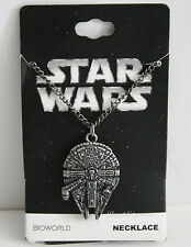 NEW Star Wars Millennium Falcon Necklace 3D Pendant Burnished Silver Tone Chain