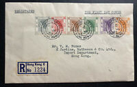 1954 Hong Kong First Day cover FDC Queen Elizabet II QE2 Stamp Issue Sc#185-90