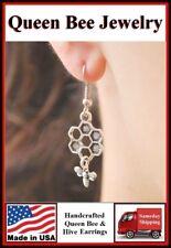 Beautiful QUEEN BEE & HIVE Silver Dangle Earrings.