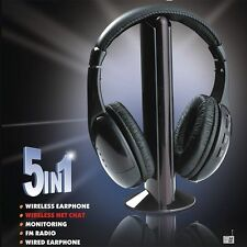 New 5 In 1 Wireless Cordless RF Headphones Headset with Mic for PC TV Radio UK