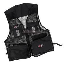 Men Black Quick-Dry Mesh Vest Multi-Pocket Fishing Hunting Hiking Jacket L