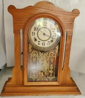 Vintage Ingraham 8 Day Pendulum Time & Strike Parlor Kitchen Clock with Key