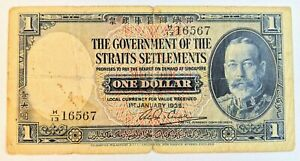 1935 Paper Money $1 Dollar Straits Settlements KGV Banknote x 1