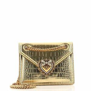 Dolce & Gabbana Devotion Crossbody Bag Crocodile Embossed Leather Small