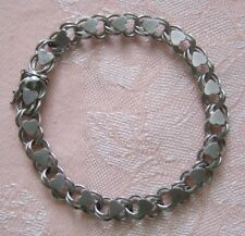 """Vintage 7"""" DOUBLE LINK With HEARTS ~ BOX CLASP Sterling Silver Charm BRACELET"""