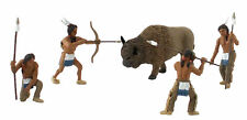 O/On3/On30/1:48th - Set Of 4 Native American Indians and a Buffalo - Prepainted