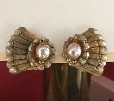 Vintage Miriam Haskell Pearl Filagree Earrings