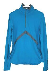 Nike Women's XL Dri fit Pullover 1/4 Zip Swoosh Logo pockets thumb holes