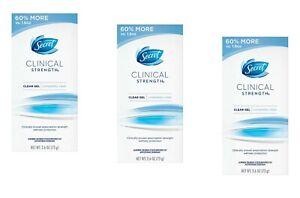 3 Secret Womens Men Clinical Strength Completely Clean Deodorant Clear Gel 2.6oz