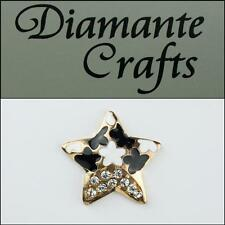 3D Star Gold Alloy Encrusted in Clear Diamantes Black and White Enamel 3ST32013