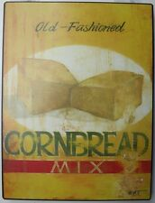 Iron Tin Metal Sign Home Kitchen Old Fashioned Cornbread recipe Decor wall art