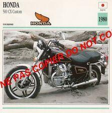 HONDA  500 CX CUSTOM JAPAN JAPON    1980  FICHE MOTO