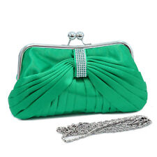 New Dasein Pleated Evening Clutch Crossbody Day Bag Handbag Purse w/ Rhinestone