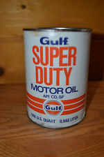 VINTAGE GULF SUPER DUTY QUART MOTOR OIL CAN FULL ADVERTISING  MAN CAVE 1960S
