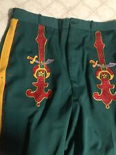 Green Masons Masonic/Odd Fellows Vintage Uniform Pants Embroidered 40