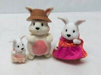 Lil Woodzeez Bunny Rabbit Family Figures Pretend Play Flocked Fuzzy Animals Set