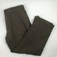 Fossil Mens 36x32 Flat Front Brown Herringbone Striped Cuffed Pants
