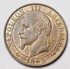 RARE ET BELLE 5 CENTIMES NAPOLEON III TETE LAUREE 1863K BORDEAUX