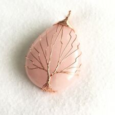 Rose Quartz Gemstone Copper Wire Wrap Tree of Life Handmade Pendant