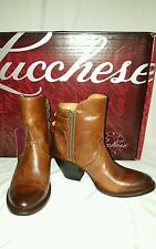 Lucchese~CATALINA~M4986 Cognac Double Buckle Leather Ankle Boot Booties Wmn Sz 7
