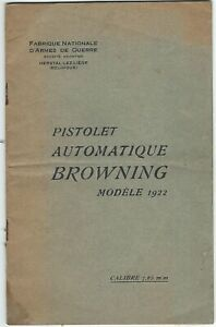 Browning FN Automatic Pistol Model 1922 Calibre 7.65mm Factory Manual COPY