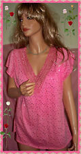 M L XL Pink Crochet V Neck Sequin Bling BANABEE Woman Pullover Knit Tunic Top