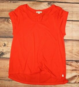 WHISTLES Ladies Casual Top V Neck Blouse Orange Lyocell Cotton UK 14