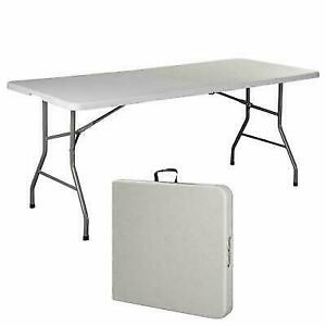 6 FT Folding Table New Office Centerfold Plastic Home Patio Party Garden
