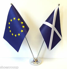 European Union EU & Scotland Flags Chrome and Satin Table Desk Flag Set