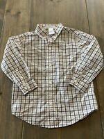 Janie and Jack Baby Boy Long Sleeve Button Down White/Black Plaid Shirt Size: 2T