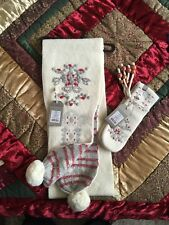 Girls UK age 13 Red Floral Gloves & Scarf Set - New