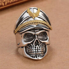 Fashion Man's World War Military cap Band Ring punk skull Biker Finger Rings