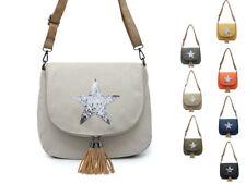 Woman Lady S-Medium Canvas Messenger Cross body Shining Star Tassel Bag