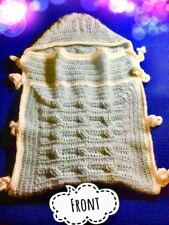 Cable Stitch Newborn Baby Bunting Wool Cocoon - Hand Crochet