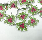 Merry Christmas Ornament Green leaves Wooden Buttons Sewing Scrapbooking 3.0cm