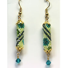 Gold-Filled Earrings made with Delicas and Swarovski Crystals