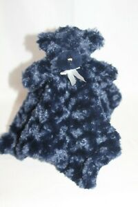 Blankets and Beyond Security Blanket blankie Lovey Bear Swirls Navy Blue Minky