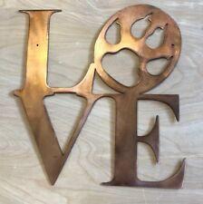 Love Dog Paw Print Rustic Copper Patina Finish Metal Wall Art Hanging