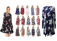Women Ladies Long Sleeve A Line Skater Flared Pleated Swing Dress Tunic Top 8-26