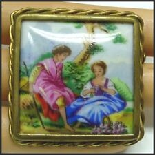 Vintage Limoges France Romantic Courting Couple Portrait Porcelain Brooch Pin