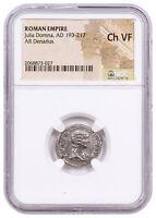 AD 193-217 Roman Empire Silver Denarius of Julia Domna NGC Ch. VF SKU56207