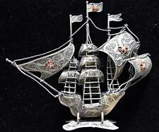 Vintage Portuguese .833 Silver Filigree Galleon Ship Signed