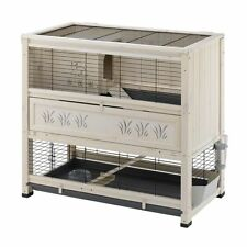 Large Rabbit Cage Hutch Guinea Pig 2 Levels Wooden Pet Indoor Home Sleeping Den
