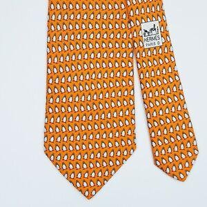 HERMES TIE 5143 HA Penguin on Orange Classic Silk Necktie