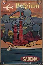 Original Expo 58 Sabena Airlines Poster Belgium World Fair Art Brussels Atomium