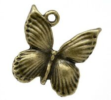 5 x Mariposa 18x17mm Colgante Charm colores bronce Aleación de cinc antigua