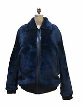 WINTER BLUE SHEARED SHEARLING MOUTON REAL FUR COAT JACKET, LEATHER TRIMMING, M