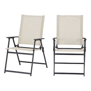 Outdoor Patio Folding Chairs Set of 2 Square Steel Sling Beige Porch Yard Beach