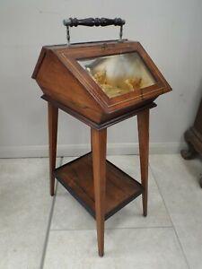Unusual Edwardian Rosewood & Inlaid Bijouterie Display Cabinet