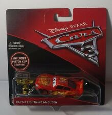 Disney Pixar Cars 3 Lightning McQueen Die Cast With Piston Cup Trophy NEW 2016